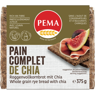 Pain complet graines chia PEMA, 375g