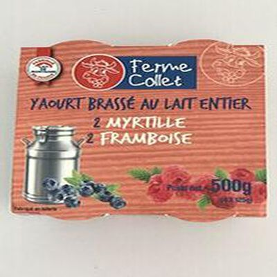 Yaourt au lait entier fruits rouges 4x100g FERME COLLET