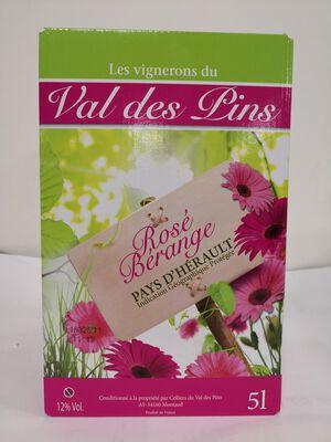 IGP Pays d'Hérault - Les Vignerons du Val des Pins - Rosé Bérange - BIB 5L
