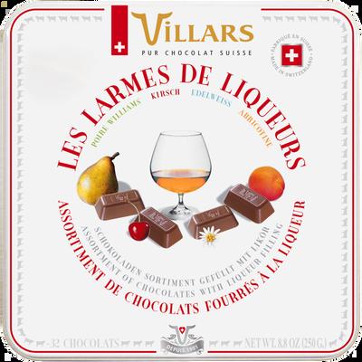 Chocolat larmes de liqueur VILLARS, boîte en métal, 250g