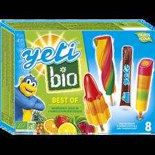 Glace aux fruits & sucettes à l'eau parfum cola bio BEST OF YETI, x8 420g