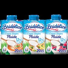 Crème légère fluide UHT, 12%MG, BRIDELICE, 3 briquettes de 20cl