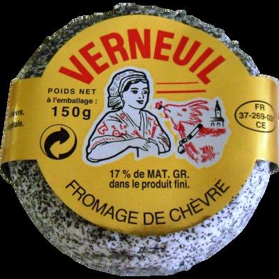 Rond cendré frais AOP lait pasteurisé 17% de MG VERNEUIL, blister de 150g
