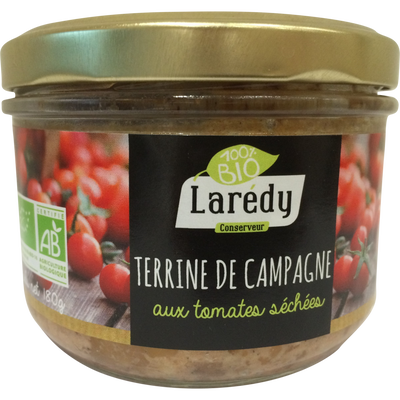 Terrine de campagne tomates séchées bio LAREDY, verrine 180g