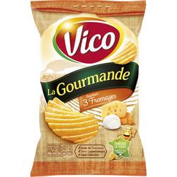Chips la gourmande 3 fromages VICO, paquet de 120g