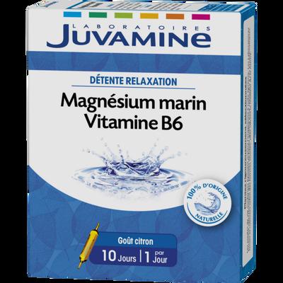 Détente relaxation magnésium marin vitamine B6 goût citron JUVAMINE, 10 ampoules à boire