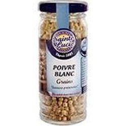 Poivre blanc en grains, SAINTE LUCIE, flacon de 50g.
