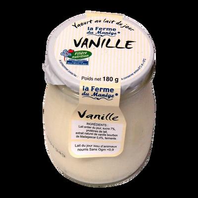 Yaourt entier brassé au lait du jour vanille LA FERME DU MANEGE, pot en verre de 180g