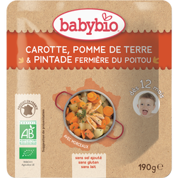 Assiette carotte, pomme de terre, pintade BABYBIO, dès 12 mois, 190g