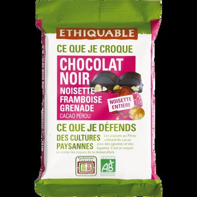 Chocolat noir 85% noisettes entières framboise grenade Pérou bio ETHIQUABLE, tablette de 100g