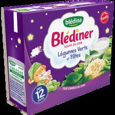 BLEDINER soupe aux légumes verts pâtes dès 12mois blédina, 2x250ml