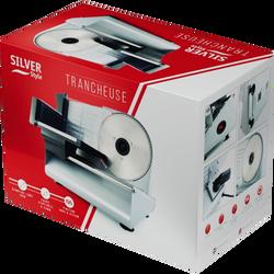 Trancheuse SILVER STYLE 2044 inox-160w-diamètre de lame 19cminterrupteur marche/arrêt-coupe ajustabke de 0 à 22mm-pieds ventouse-plateau detachable-rotation sur