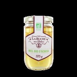 Miel d'acacia biologique LA RUCHE AUX DELICES, pot en verre de 375g