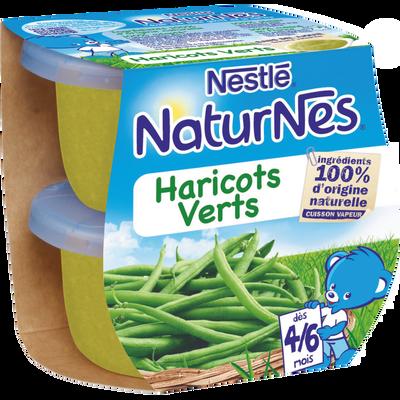 NATURNES NESTLE, haricots verts, dès 4/6 mois, 2 bols de 130g soit 260g
