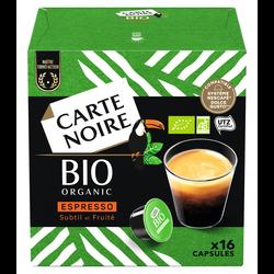 Café capsules bio CARTE NOIRE, x16 soit 128g