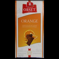 Tablette de chocolat au lait et écorces d'orange ORSET, 100g