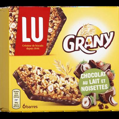 Barres au chocolat au lait et noisettes GRANY, 138g