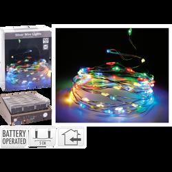 Guirlande de fil d'argent lumineux pour intérieur 100 microledmulticouleurs 5m-espace entre led 5cm-fil conducteur 10cm-fonctionneavec 3 piles AA non incluses