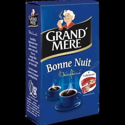 Café bonne nuit décaféiné moulu GRAND-MERE, paquet de 250g