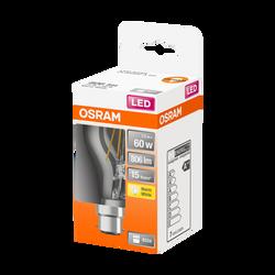 Ampoule led filament OSRAM ronde 60W B22 blanc chaud 2700k