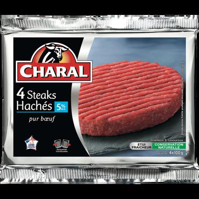 Steak haché, 5% MAT.GR., CHARAL, France, 4 pièces, 400g