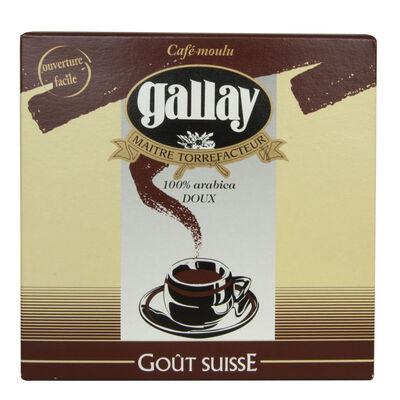 Café moulu gout Suisse arabica doux GALLAY, lot de 2x250g