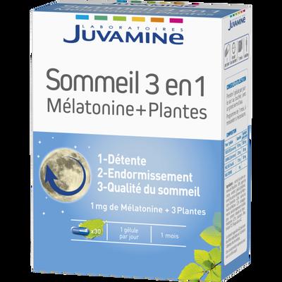 JUVAMINE sommeil mélatonine + plantes 3 en 1 gélules x30
