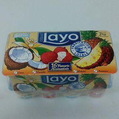 Yaourt Layo multi fruit aromatisés (Coco, Vanille, Letchi, Ananas) 16 unités de 125g