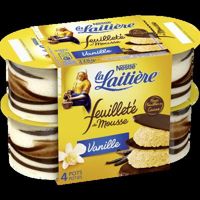 Mousse lactée vanille feuilleté LA LAITIERE, 4x57g