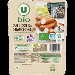 Saucisses de Francfort Bio U, x4 soit 200g