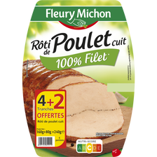 Fleury Michon Rôti De Poulet Cuit , 4 Tranches + 2 Offertes Soit 240g