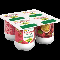 Spécialité au soja fermentée sucrée aux fruits parfum framboise passion SOJASUN, 4x100g