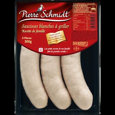 Grosses saucisses blanches à griller PIERRE SCHMIDT, 3x100g
