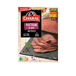 Pastrami boeuf tranché, CHARAL, France, barquette, 90g
