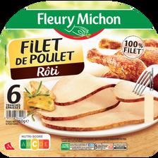 Filet de poulet rôti FLEURY MICHON, 6 tranches, 160g