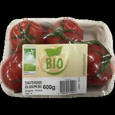 Tomate ronde en grappe, segment Les grappes, BIO, catégorie 2, France,barquette, 600g