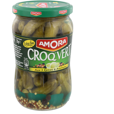Cornichons croq'vert extra fins AMORA, bocal de 210g