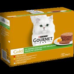 Terrines pour chat adulte 4 variétés au poulet, b uf et légumes GOURMET, 12x85g
