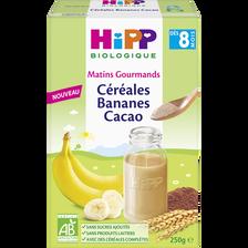 Céréales Bio bananes et cacao HIPP, dès 8 mois, boîte 250g