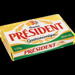 Beurre 1/2 sel PRESIDENT, 80% de MG, plaquette de 125g