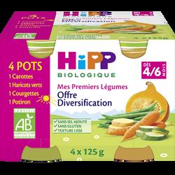 Mes 1ers légumes (carotte/courgette/potiron/haricot) bio dès 4/6mois HIPP, 4x125g