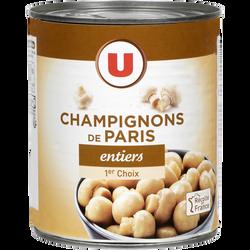 Champignons de Paris entiers 1er choix U, boîte 4/4, 460g
