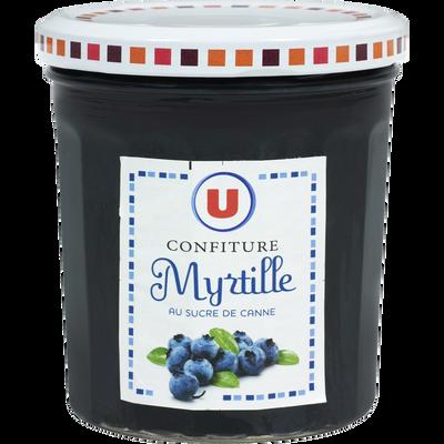Confiture de myrtilles 50% de fruits U, pot de 370g