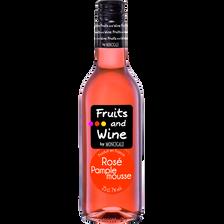Boisson à base de vin rosé pamplemousse FRUITS & WINE, 7°, bouteille de 25cl