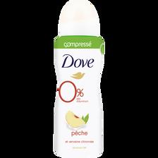Déodorant compressé women parfum pêche et verveine citronnée 0% aluminium DOVE, atomiseur de 100ml