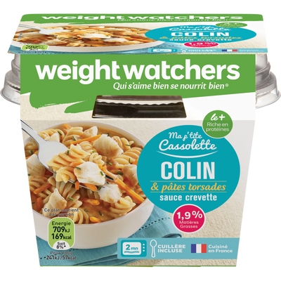 Cassolette de colin et pâtes torsades sauce crevette WEIGHT WATCHERS,barquette micro-ondable de 300g