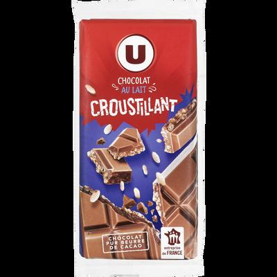 Tablette de chocolat au lait croustillant U, 2 unités de 100g