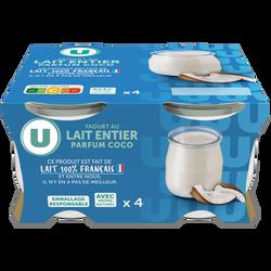 Yaourt au lait entier parfum coco U pot verre 4x125g