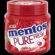 Chewing-gum sans sucre pure fresh goût fraise MENTOS, boîte de 50 dragées, 100g