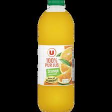 Pur jus d'orange sans pulpe U, bouteille de 2l